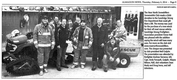 Our 2014 donation to the Sundridge Strong Fire Dept.