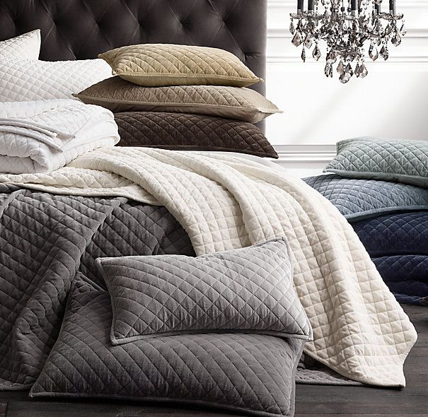 RH's Washed Velvet Diamond-Quilted Coverlet & Sham:Perfect for luxe layering, our cotton velvet bedding is washed to produce an extraordinarily soft touch. Diamond-stitch quilting creates a tailored look and a plush thickness, while the cotton sateen backing enhances the velvet's silky smooth comfort.