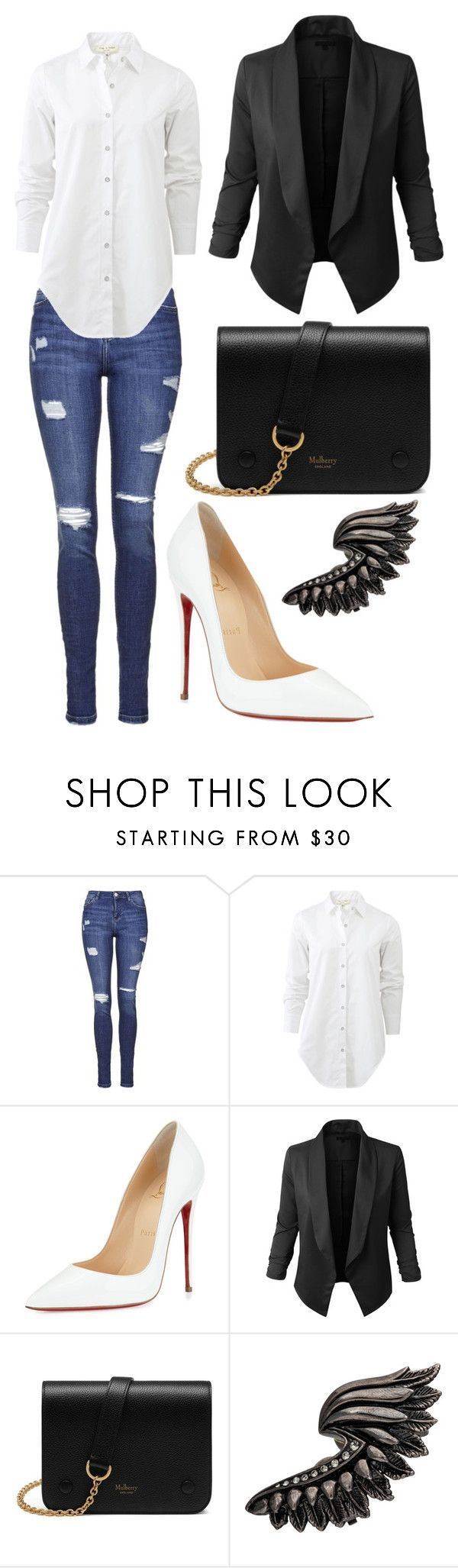 """""""Jusiieiiwiw"""" by kidrauhlss ❤ liked on Polyvore featuring Topshop, rag & bone, Christian Louboutin, LE3NO, Mulberry and Roberto Cavalli"""