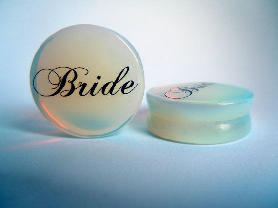 Bride Wedding Plugs 0g (8mm), 00g (10mm) Solid Opalite Semi Precious Stone Saddle Plugs / Gauges by http://www.etsy.com/shop/sacredgunmoll