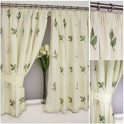 Louise lined voile embroidered leaf pencil pleat curtain Green,cream,white,mocha
