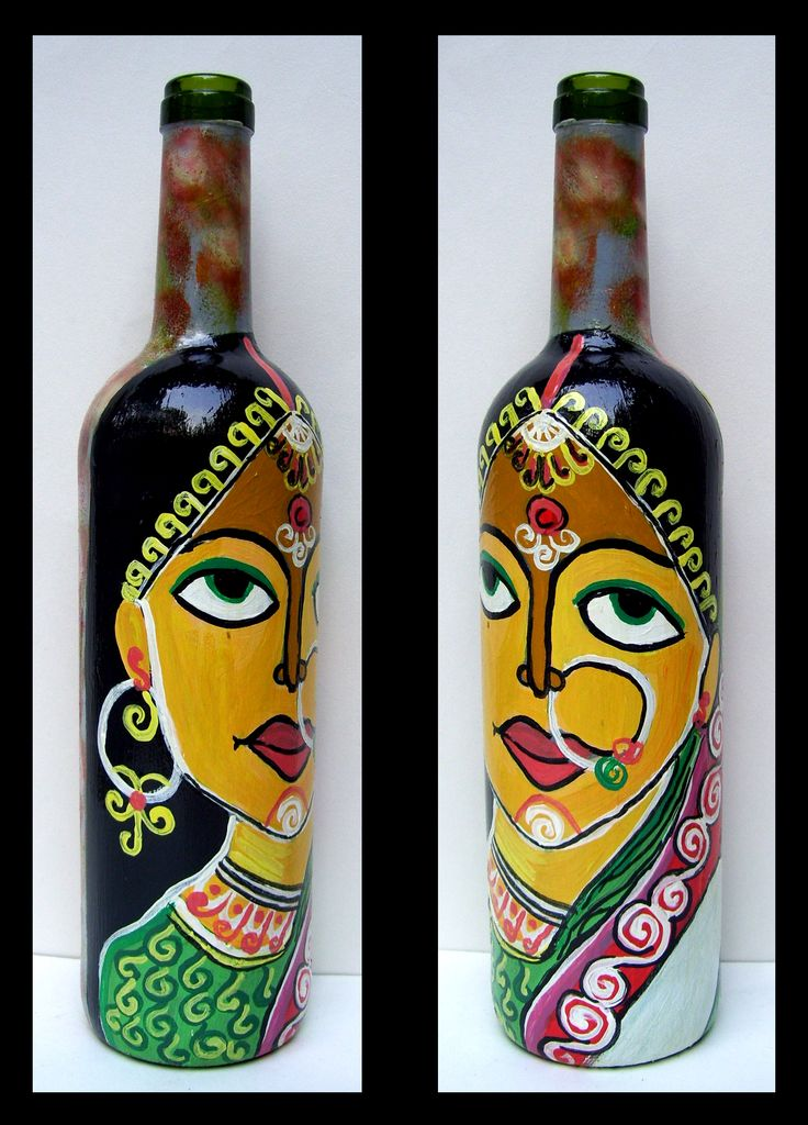 "Hand painted glass bottle from ""Bottles Not Empty"""