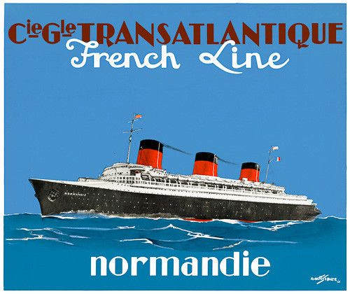 "This poster for the French Line shows the transatlantic cruise liner Normandie. The Normandie launched in 1935 and was later pulled into service as a troop-ship during WWII. ""Cie. Gle. Transatlantique"