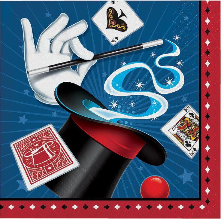 Magic Party Beverage Napkins, Magic Show Dessert Napkins, Magician Paper Napkin, Magical Party Tableware (set of 16)