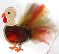 Tulle Turkey Applique - 5 Sizes! | Featured Products | Machine Embroidery Designs | SWAKembroidery.com