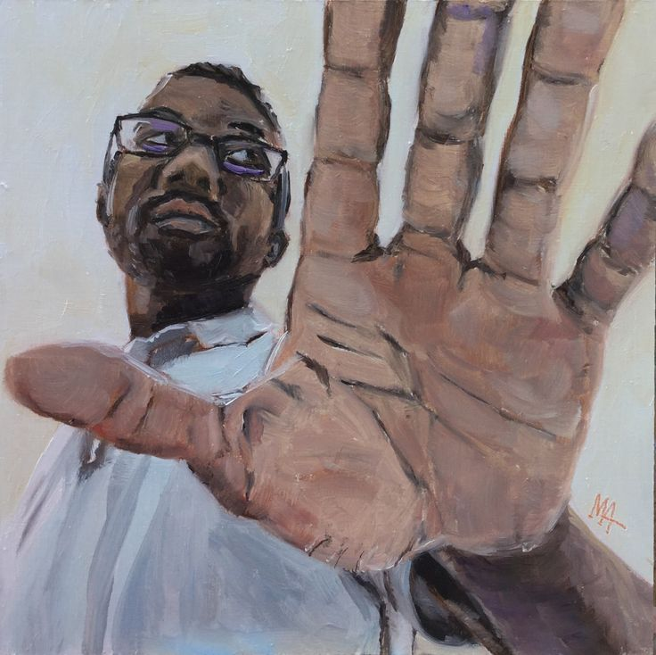 Oil painting portrait of Kwab, my model let me paint him and I am grateful for that. Saying NO and STOP is a universal sign. This is the first sign you show when you want to protect yourself. As a practicing therapist I know from my private practice that saying no is one of the most important skill in one's life.  Even though the painting says so, I wasn't a paparazzo. :-)  The challenge here was the foreshortening...