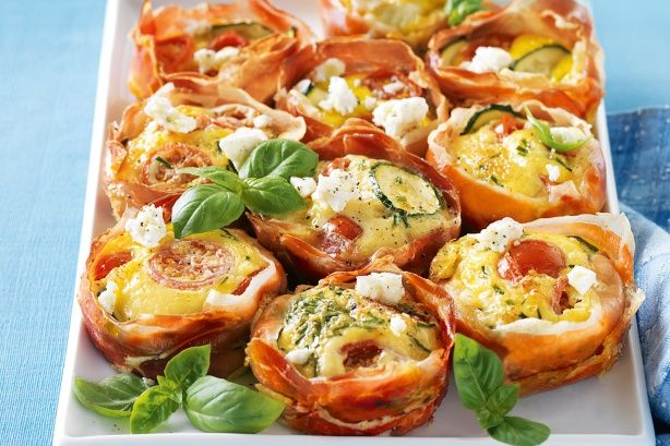 Prosciutto & zucchini pies with feta Olive oil spray 24 thin slices ...