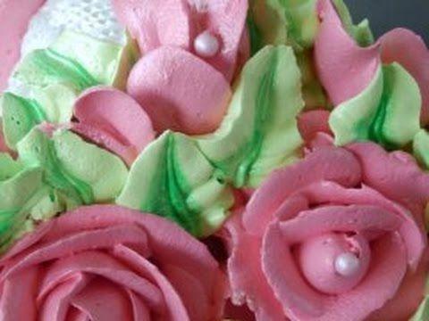 двухцветные листики из крема.украшение торта - YouTube