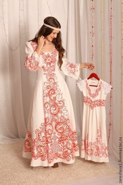 Одежда и аксессуары ручной работы. Ярмарка Мастеров - ручная работа Венчальный наряд для мамы и дочки. Handmade.