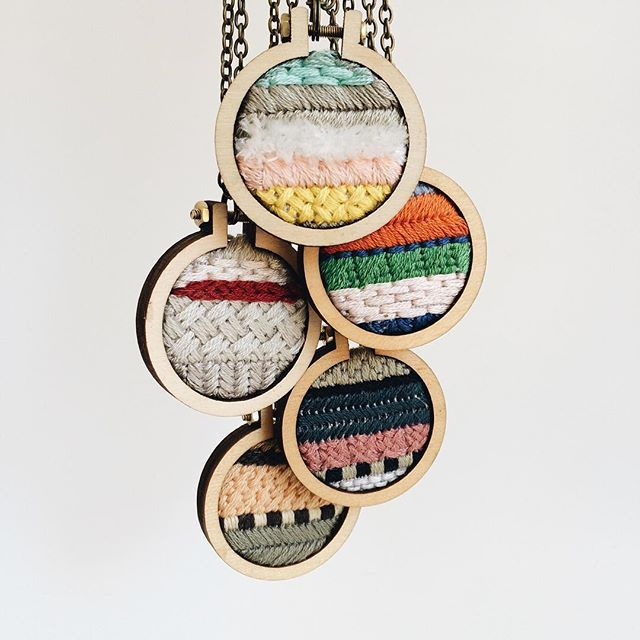 Five new necklaces up on Etsy!  Jessica uses Dandelyne mini hoop necklaces to…