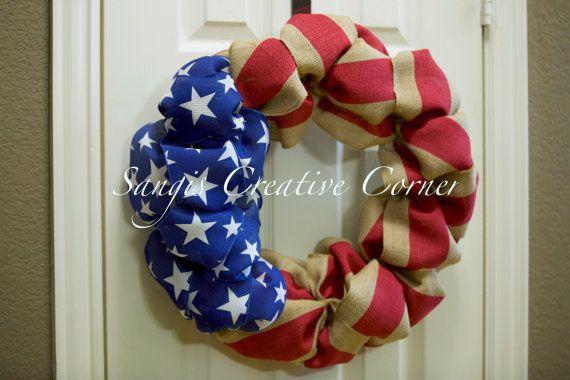Patriotic Wreath 4th of July Wreath by SangisCreativeCorner