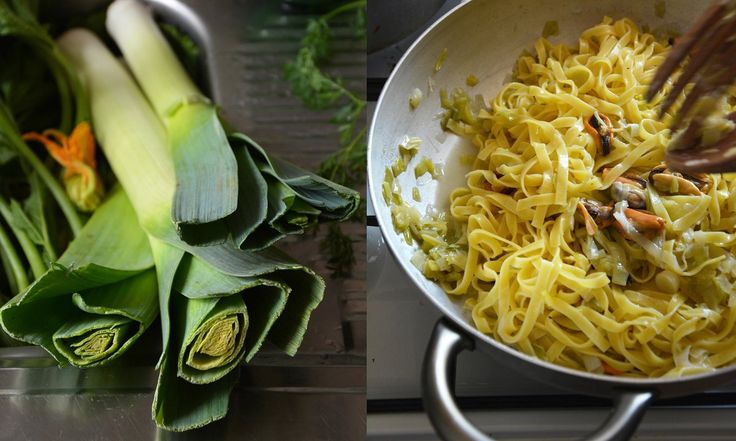 Rachel Roddy's leeks and mussels tagliatelle recipe | A Kitchen in Rome | Life and style | The Guardian