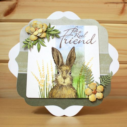 CS124D 'March Hares' Clear set contains 9 stamps. Designed by Sharon Bennett for Hobby Art. Card by Elaine Parker