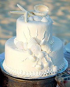 all white beach / ocean themed wedding cake with shells and starfish