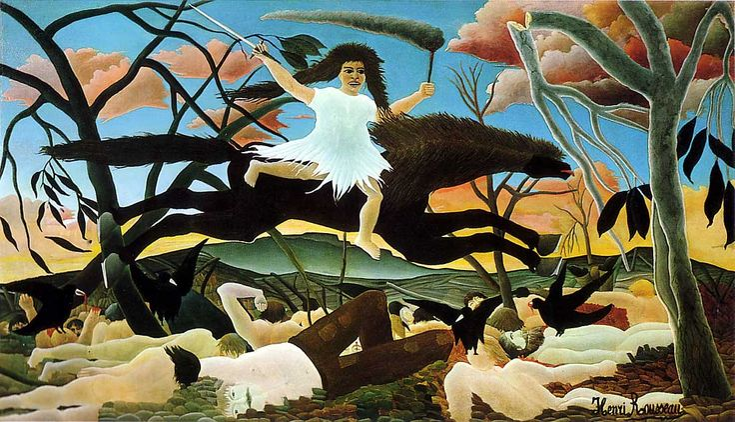 """War,"" or ""Discord on Horseback,"" Henri Rousseau, 1894. Art from childhood."
