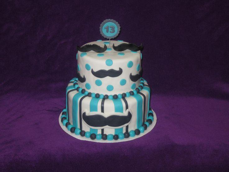 Mustache themed girl's 13th birthday cake