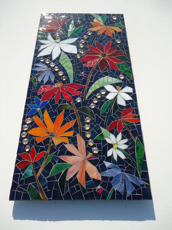 floral mosaic wall art panel dark blue stained glass indoor or outdoor mosaic artwork garden pation kitchen bathroom