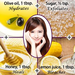 We all know that honey and olive oil moisturize the skin, whereas lemon juice has a cleansing and bleaching action. Sugar, along with the other ingredients, helps in removing dead skin cells.
