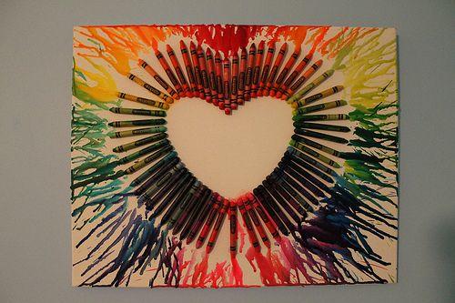 crayon art: Melted Crayons Art, Crafts Ideas, Crayons Heart, Heart Shape, Heart Art, Hairdryer, Hair Dryer, Crayons Melted, Crayon Art