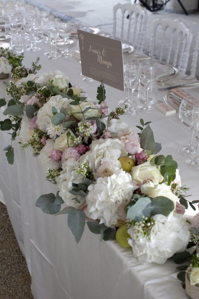 white, green and purple table flowers
