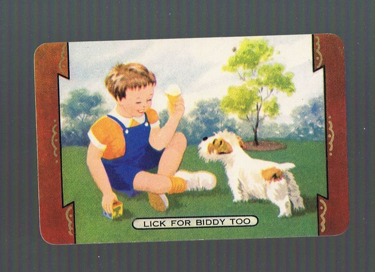 Playing Swap Cards 1 VINT NAMED COLES LICK FOR BIDDY TOO BOY & DOG