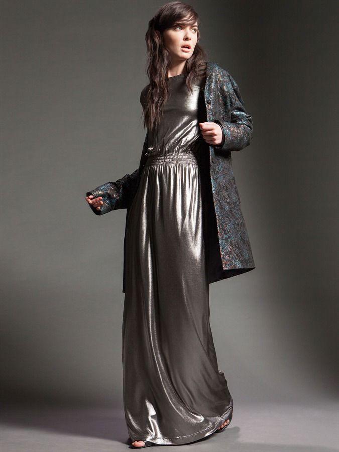 Naughty Dog FW15 long silver dress and jacquard lurex coat