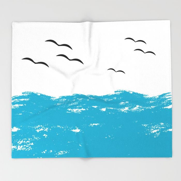 $49.99 Made of 100% polyester and sherpa fleece, these might be the softest blankets on the planet. #blanket #home #decor #water #birds #animals #nature #waves #aquatic #elegant #brush #strokes #paint #sea #ocean #modern #creative #pattern #abstract #blue #white #black #buyart #society6 #gift #giftideas