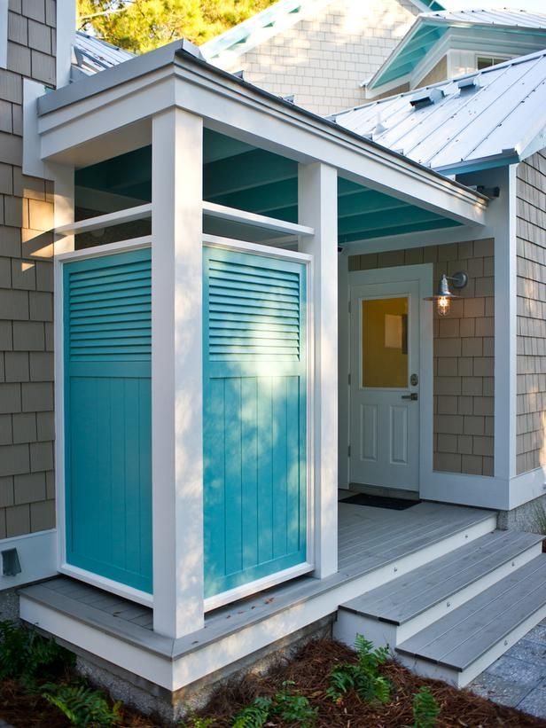 outdoor bathroom vent cover%0A HGTV Smart Home       Artistic View on HGTVOutdoor shower area