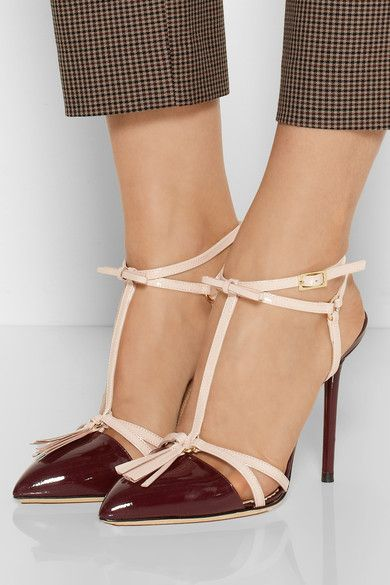 oxblood pointy toe shoes with tassel t-straps