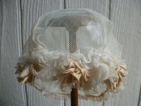 Antique French Girls Bonnet Apricot Ribbons Lace by Vintagemaison