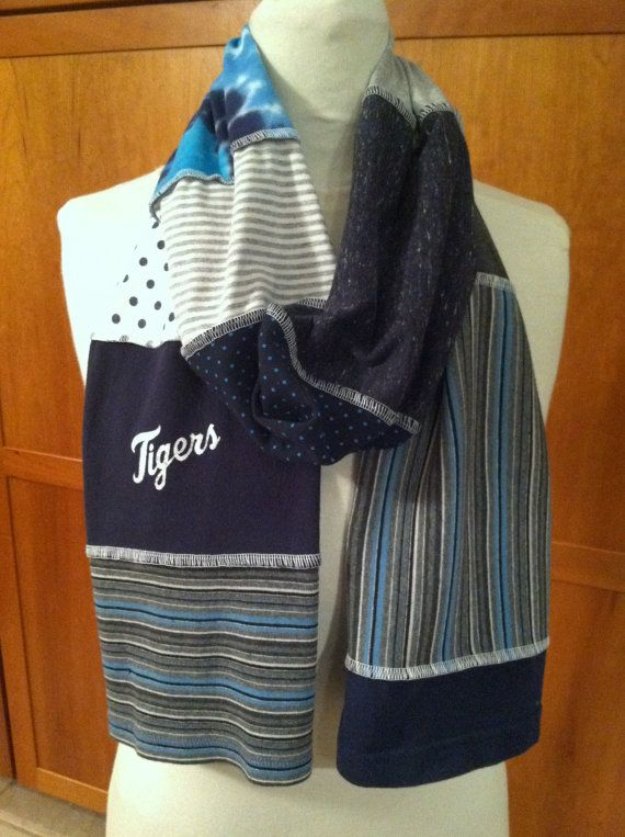 Upcycled Tshirt Scarves | UPCYCLED t-shirt scarf... DETROIT TIGERS... baseball... World Series ...