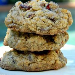 """West Coast Trail Cookies: """"This cookie gets its name from the West Coast Trail on Vancouver Island. It's my adaptation of the perfect nut-free trail cookie that's been our family's favorite chewy oatmeal cookie for 10 years. Loaded with choco-chips and dried cranberries. The flax seed meal and pumpkin seeds give them a nutty taste, without the nuts. Perfect for school kids or those with allergies."""" — westcoastmom"""