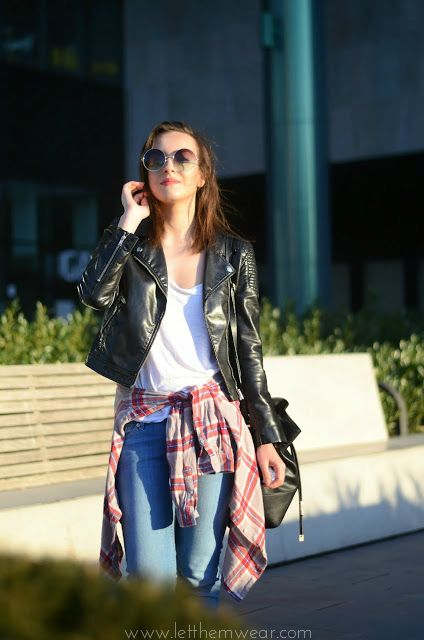 checked shirt blouse jacket street style fashion blogger