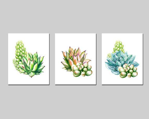 Succulents printable watercolor wall art succulent set