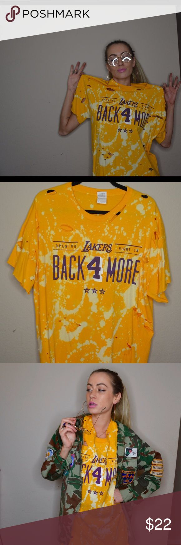 Distressed Lakers Shirt Vintage Distressed Lakers T by a NY/LA designer size large but worn oversized Tops
