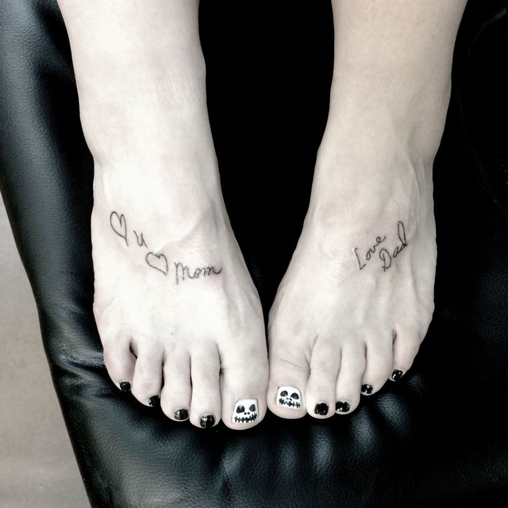 Tattoo of my parents signatures as they signed every card they gave me; on my feet because even though they are no longer here, they still ground me. The most meaningful tattoo I have.