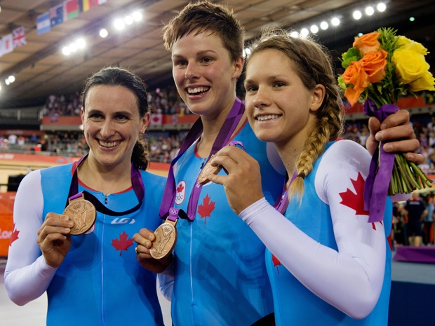 Day 8 (August 4th, 2012) - Bronze - Women's Team Pursuit (Track Cycling) - Tara Whitten, Gillian Carleton, Jasmin Glaesser