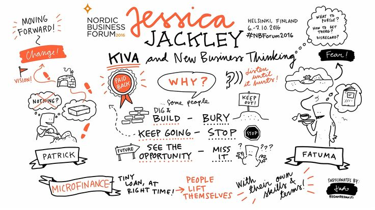 Visual notes from speaker Jessica Jackley's presentation at Nordic Business Forum 2016.