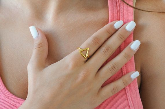 Line triangle ring 925 stelring silver ring Triangle by Wavejewels
