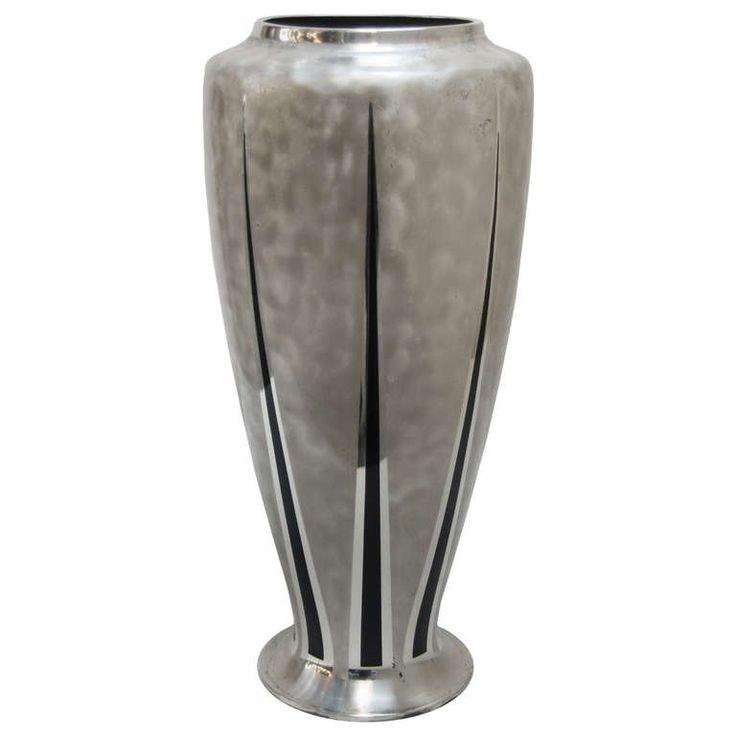 """Decorative """" Ikora """" Tall Mixed Metal Vase By WMF at 1stdibs"""