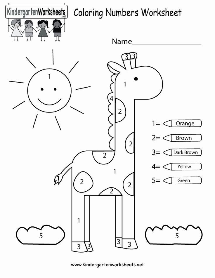 Number Coloring Worksheets for Kindergarten in 2020