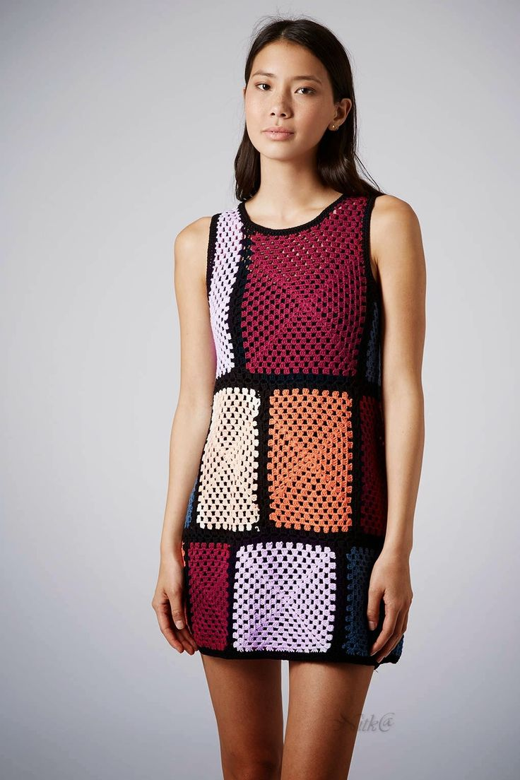 Crochetemoda July 14. Crochet dress in squares and rectangles. Nice! (No pattern)
