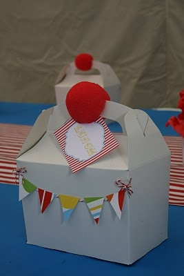 clown noses on treat boxes with mini flag banner,cute