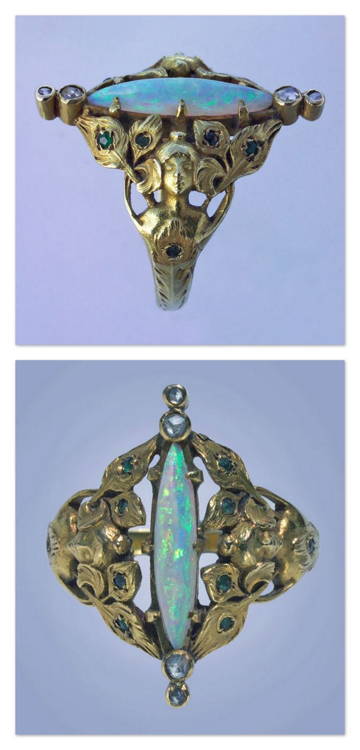 ART NOUVEAU -  Peacock Maiden Ring . Gold Opal Emerald Diamond.  French, c.1900.