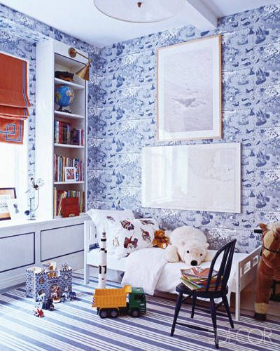 Designer Miles Redd employs a blue-and-white scheme to create a crisp, fresh look in this children's room.