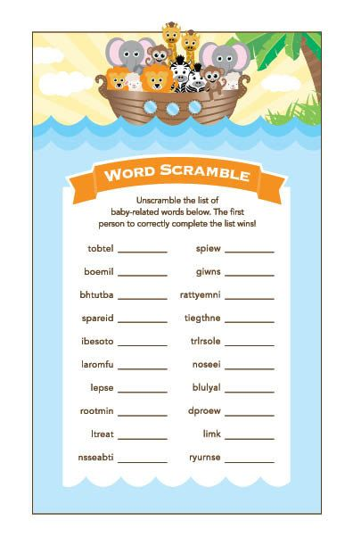 Instant Download Noah's Ark Word Scramble Baby by Studio20Designs