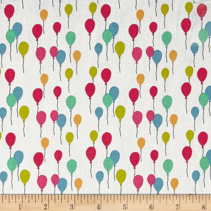 Stof France Envol Lorraine Multicolore from @fabricdotcom  From Stof Fabrics of France, this cotton print quilting cotton is wider than your average quilting cotton. This print features colorful balloons and is perfect for quilting projects, children's sheeting, quilt backing, lighter curtains, dust ruffles and crisp apparel like skirts and button-down shirts. Colors include white, charcoal, lime green, magenta, pink, mustard and shades of blue.