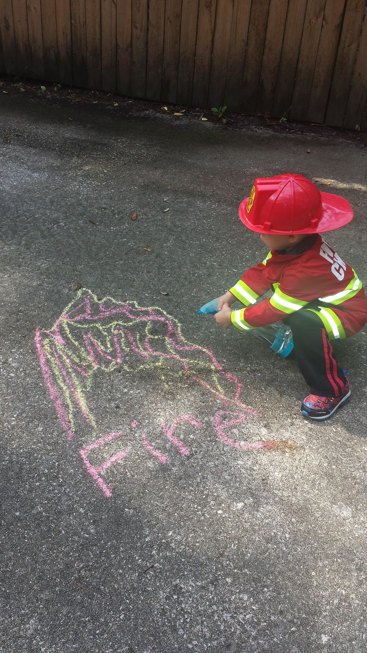 "So CUTE...Firefighter Role Play to put out ""Chalk Fires"" by spraying them with water using a spray bottle to put out the ""Chalk Flames."" I used this fun learning activity to help my son recognize more words that start with the letter F...words like Fire, Firefighter, Flames, Fire Truck. He was really engaged during the entire activity and enjoyed spraying the letter F, along with the fire. :)"