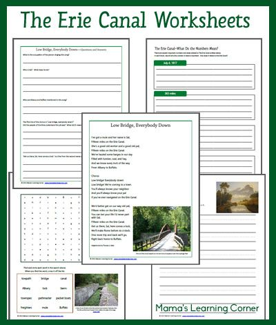 6-page set of The Erie Canal Worksheets for 1st-3rd Graders - includes book suggestions and You Tube suggestions