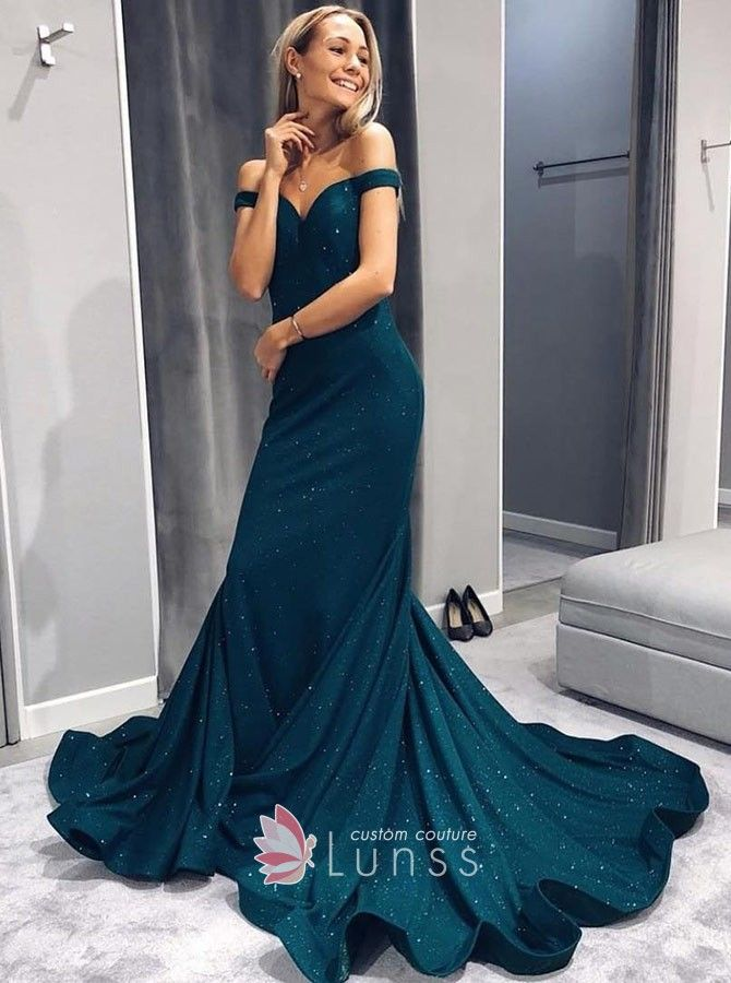 Dark teal shiny spandex mermaid prom dress with flounced chapel train.  Off-the-shoulder dark teal long formal dress. b63e7140ce93